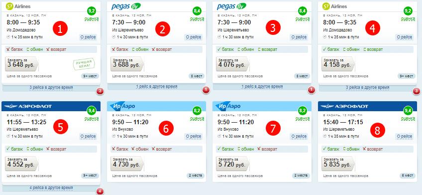 расписание авиарейсов и сравнение цен на них